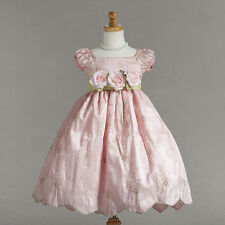 Dressy Holiday Floral Embroidered Pink Boutique Flower Girl Pageant Dress, USA