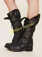 Womens Biker Real Leather Punk Lace Up Rivet Studs Knee High Combat Boots Shoes