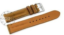 Watch straps-DP-107 Pin buckle Extra padded,Leather,smooth light brown 22mm