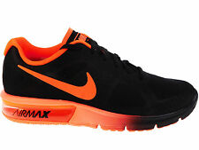 NEW MENS NIKE AIR MAX SEQUENT RUNNING SHOES TRAINERS BLACK / TOTAL CRIMSON