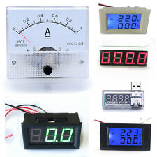 DC AC LED Digital Panel Red / Blue Ammeter Analog Test Meters Amp Volt Meter