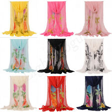 NEW Women Ladies Flowers long Soft Wrap Lady Shawl Silk Chiffon Scarf Style HOT