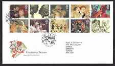 D2-Great Britain-Sc#1605a-Greetings stamp block of 10 on FDC-1995-