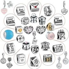 Letter Word Bead Fashion 925 Sterling Silver Charms For Woman 3mm Bracelet Chain