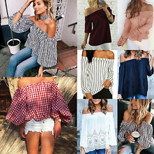 Boho Womens Off Shoulder Shirts Long Sleeve T-shirt Loose Blouse Tops Pullover