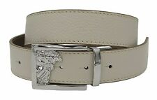 VERSACE Collection White Beige Leather Belt Medusa Adjustable Reversible Belt