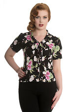 Hell Bunny Freya Floral Blouse Top Shirt 40s 50s Pin Up Rockabilly Vintage Retro