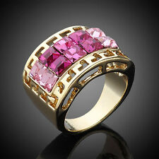 18K GP Gold-tone,Pave 2-Tone 2-Row Square Pink Swarovski Crystal Ring Size 6-8
