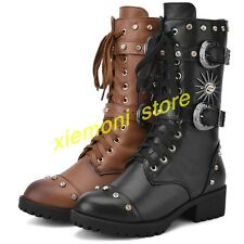 Womens Vintage Gothic Mid Calf Boots Leather Buckle Biker Knight Riding Boots SZ