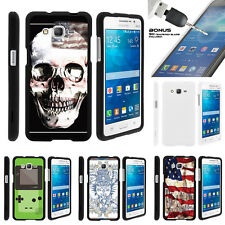 For Samsung Galaxy Grand Prime G530 Snap On 2 Piece + Tempered Glass USA Skull