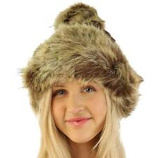 Faux Fur Thick Cable Knit Bucket Fleece Lined Pom Pom Chunky Beanie Hat