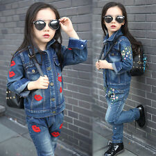 2 Piece Set Outfit Girls Kids Embroidered Jean Denim Jacket Outwear Coat Pant