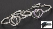 Equilibrium Jewellery Silver Plated Entwinded Hearts Bangle Bracelet Gift Box