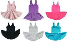 Girls Cotton Sleeveless Ballet Tutu Dress Kids Dance Gymnastic Leotards 3-14Y