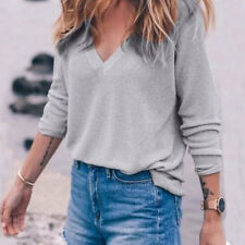 Women Long Sleeve Knitted Top V Neck Pullover Loose Sweater Jumper Grey Knitwear