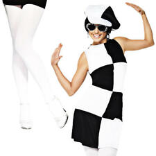 1960s Party Girl + Tights Ladies 60s 70s Disco Fancy Dress Black White Costume