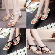 Women Summer Fashion Bohemia Slippers Flip Flops Flat Sandals Casual Beach Shoes
