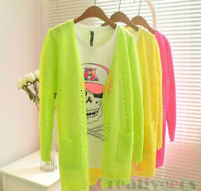 Fashion Sweet Candy Crochet Knit Top Sweater Hollow Out Cardigan Sleeve Blouse