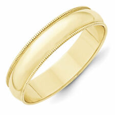 5mm 10K Yellow Gold Standard Fit Milgrain Edge Wedding Ring Band Size 6-13
