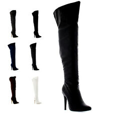 Womens Platform Stretch High Heels Stiletto Over The Knee Thigh Boots US 5-11