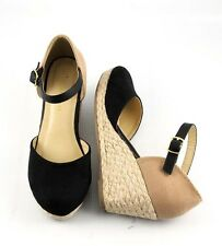 Black Tan Cutie Closed Toe Low Wedge Espadrilles Ankle Strap Closed Back