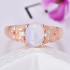 Gorgeous Woman Teardrop Rainbow Fire Moonstone Gems Silver Party Ring Size 7 8 9