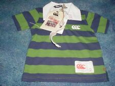 NEW BOYS CANTERBURY OF NEW ZEALAND POLO SHIRT GREEN 2 KIDS STRIPED SHORT SLEEVE