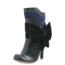 Womens Irregular Choice Rosie Lea Navy Blue Heeled Ankle Boots UK Size
