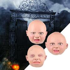 Full Head Mask Angry Happy Baby Latex Scary Halloween Prop Cosplay Party Co #T1K