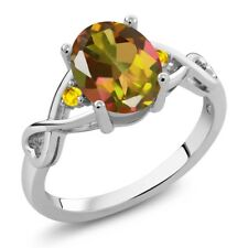 1.87 Ct Oval Mango Mystic Topaz Yellow Sapphire 14K White Gold Ring
