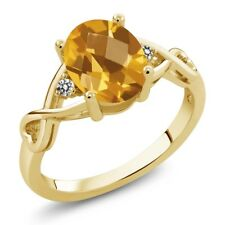 1.36 Ct Oval Checkerboard Yellow Citrine White Diamond 14K Yellow Gold Ring
