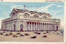 NEW UNION DEPOT CHICAGO, IL 1918 publ by Max Rigot Selling Co