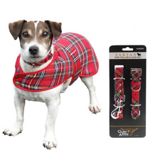 New Pet Gift Dog Collar & Lead & Coat Set - Royal Stewart with Matching Dog Coat