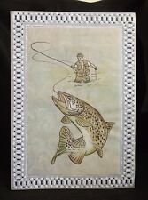 handcrafted parchment craft card fisherman trout any occasion blank/personalised