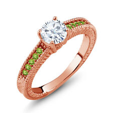 White Created Moissanite Simulated Peridot 18K Rose Gold Plated Silver Ring