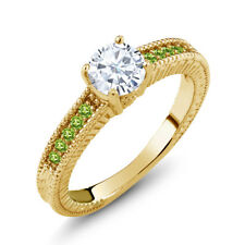0.88Ct Created Moissanite Simulated Peridot 18K Yellow Gold Plated Silver Ring