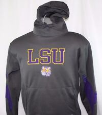 NEW Mens MAJESTIC Section 101 LSU Tigers Grey NCAA Hoodie Pullover