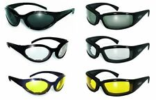 3 ANTI FOG Padded Motorcycle Riding Glasses Sunglasses-Night & Day w-FREE BAGS