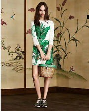 2016 New Runway Hot Sale Banana Printing Insect Beading Women Party Dress S-XL