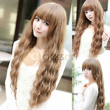 New Womens Ladies Long Corn Wavy Curly Full Wig Wigs Hair Brown Cosplay Party