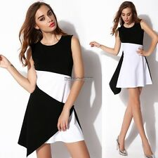 Women O-Neck Sleeveless Splice Tank Dress Asymmetric Hem Party Dress ED