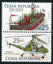 CZECHOSLOVAKIA Sc.# 3563 Ship & Helicopter Setenant Stamp Pair