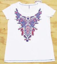Greensource Americana Womens Paisley Print Tee T-Shirt Red White Blue New