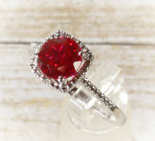 925 Sterling Silver Created Ruby Halo Diamond Engagement Birthstone Ring 5678