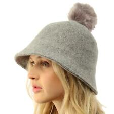 Faux Fur Ball Pom Pom Wool Knit Cloche Bell Shape Bucket Warm Beanie Hat