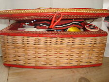 Vintage Cane Sewing Basket and Contents