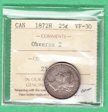 1872-H Canada Obverse 2, 25 Cent Coin - VF-30