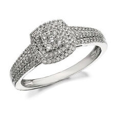 1/3 ct Round Cut Cubic Zirconia Three Row Engagement Ring 10k Solid White Gold