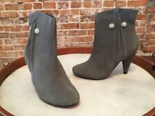 TWIGGY London GREY Suede Jewel Button Ankle Boots NEW