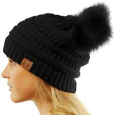 CC Matching Fur Color Pom Pom Thick Stretchy Slouchy Chunky Knit Beanie Hat